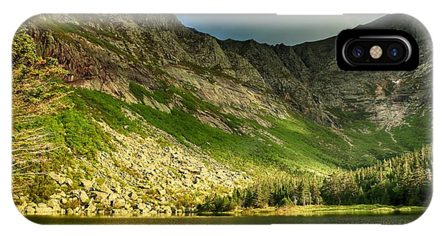 Chimney Pond IPhone X Case featuring the photograph Sun Shining On Chimney Pond by Elizabeth Dow