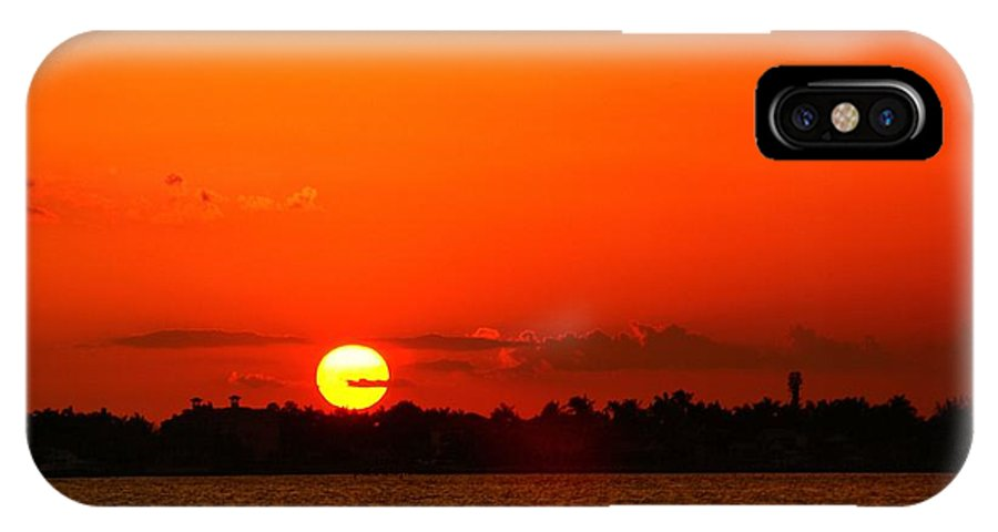 Sunset IPhone X Case featuring the photograph Sun Slice by Florene Welebny