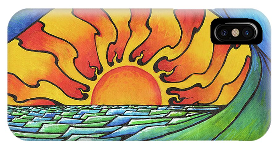 Surf IPhone X Case featuring the painting Sun Through The Curl by Adam Johnson