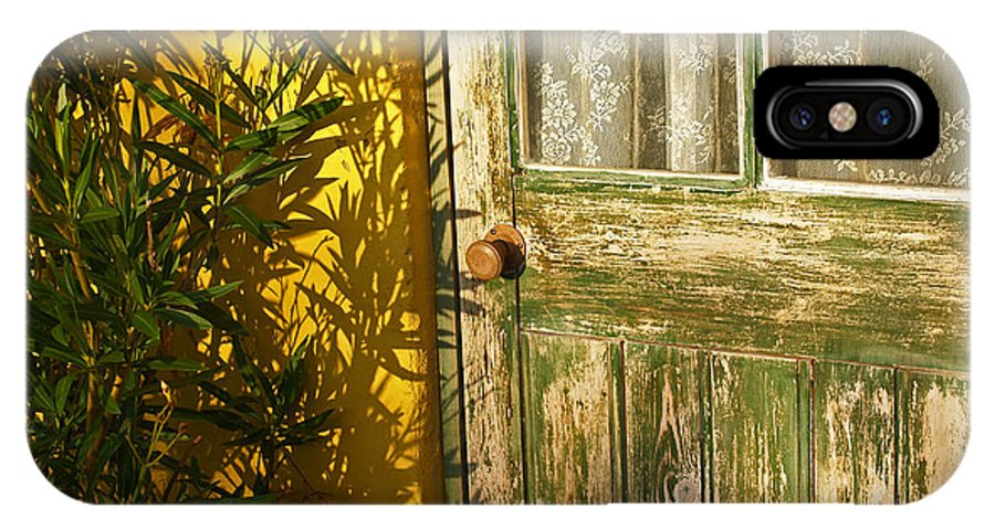 Door IPhone X Case featuring the photograph Sun Warmed And Weathered by Bel Menpes