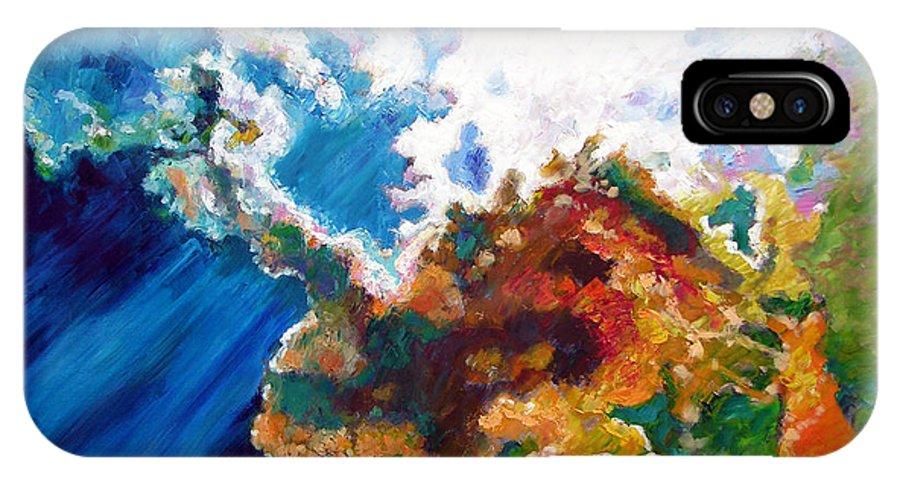 Sunburst IPhone X Case featuring the painting Sunburst by John Lautermilch