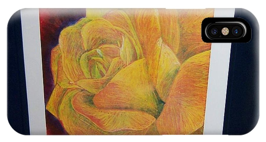 Rose IPhone X Case featuring the painting Sunburst Rose by Emily Young