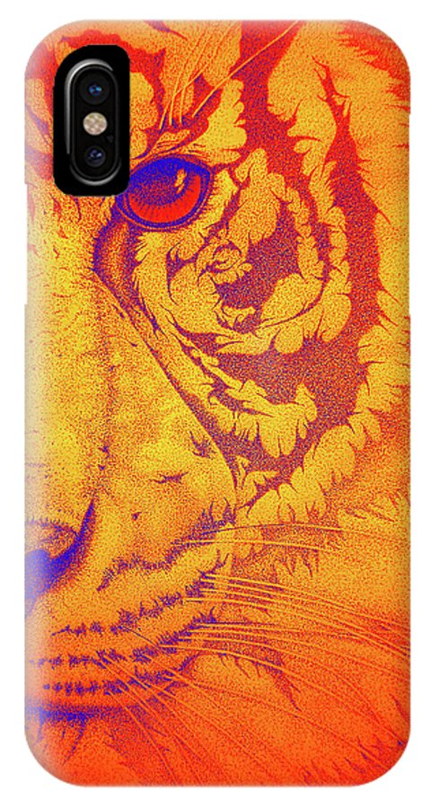 Tigers Digital Art IPhone X Case featuring the drawing Sunburst Tiger by Mayhem Mediums