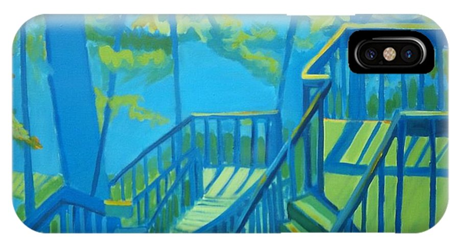 New Hampshire IPhone X Case featuring the painting Suncook Stairwell by Debra Bretton Robinson