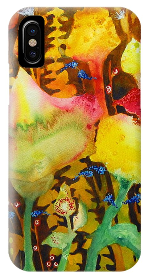Abstract Floral IPhone X Case featuring the painting Sundae Flower Cone by Henny Dagenais