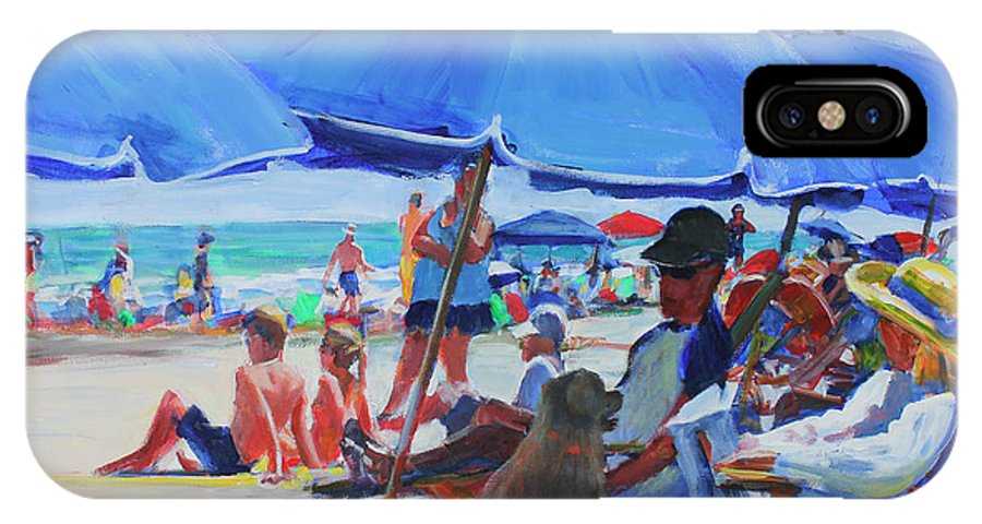 Beach IPhone X Case featuring the painting Sunday Beach Blues by Candace Lovely