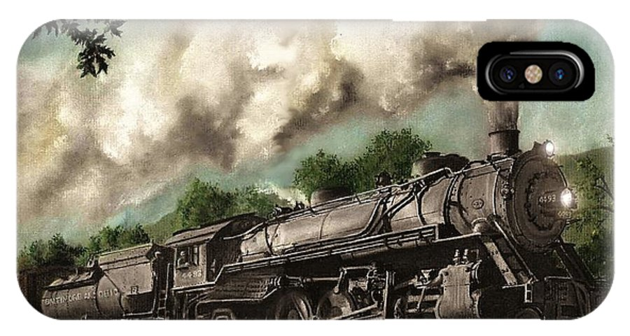 Baltimore & Ohio Railroad B&o Q4 Train Painting Railroad Maryland And Pennsylvania Autumn Fall Colors Steam Engine IPhone X Case featuring the painting Sunday Drive by David Mittner