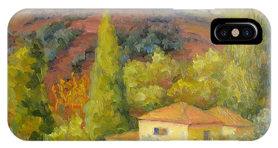 Tuscany IPhone X Case featuring the painting Sunday In Tuscany by Bunny Oliver