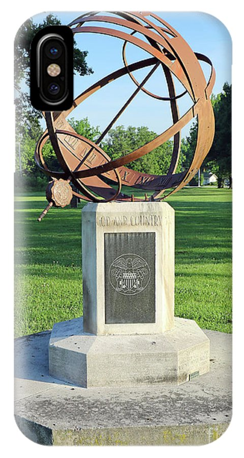 Sundial IPhone X Case featuring the photograph Sundial At American Legion Post, Indianapolis, Indiana by Steve Gass