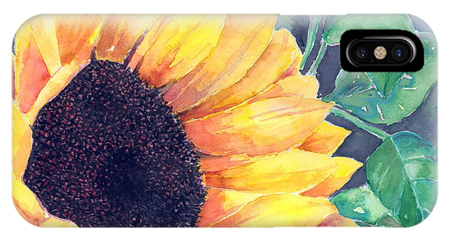 Sunflower IPhone X Case featuring the painting Sunflower by Arline Wagner