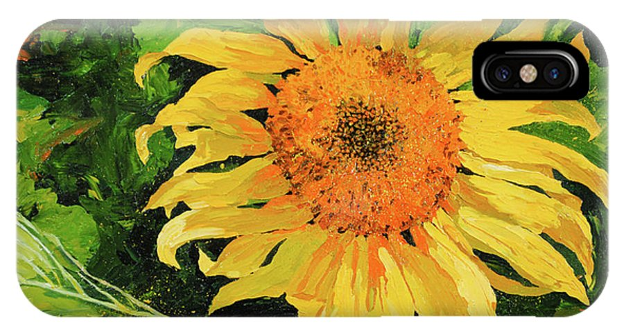 Sunflower IPhone X / XS Case featuring the painting Sunflower by Chris Steinken