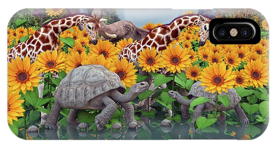 Sunflower IPhone X Case featuring the digital art Sunflower Daydream II by Betsy Knapp