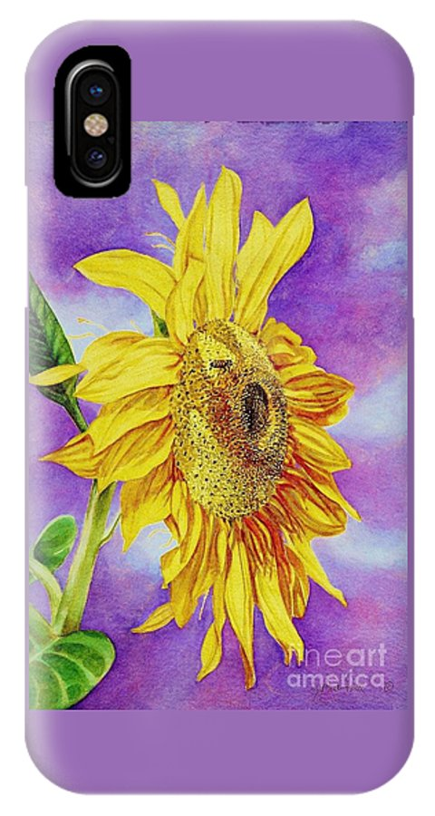 Cynthia Pride Watercolor Paintings IPhone X Case featuring the painting Sunflower Gold by Cynthia Pride