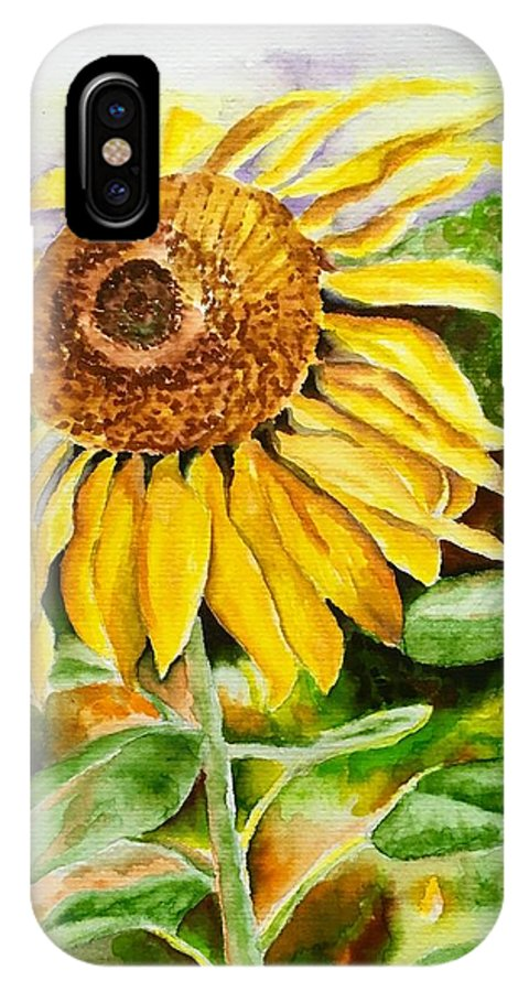 Sunflower. Yellow IPhone X Case featuring the painting Sunflower by Judy Swerlick
