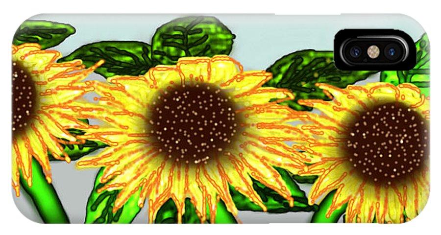 Sunflower IPhone X / XS Case featuring the digital art Sunflower by Rabia Shabbir