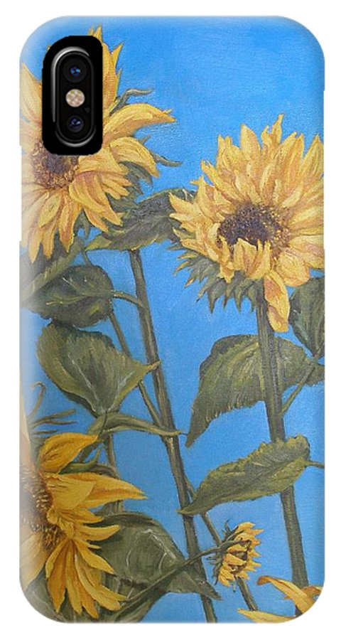 Sunflower IPhone X Case featuring the painting Sunflower by Travis Day