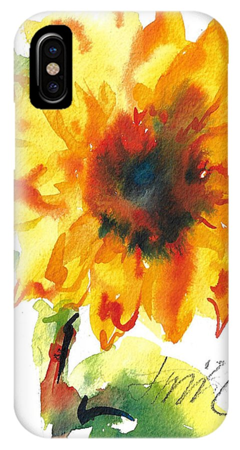 Floral IPhone X Case featuring the painting Sunflower With Blues by Jacki Kellum