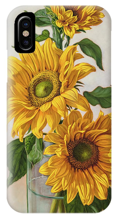 Fiona Craig IPhone X Case featuring the painting Sunflowers 1 by Fiona Craig