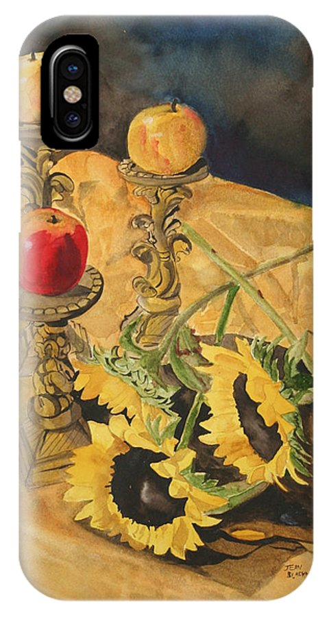 Still Life IPhone X Case featuring the painting Sunflowers And Apples by Jean Blackmer