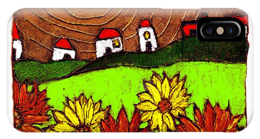 Flowers IPhone X Case featuring the painting Sunflowers And Fields by Wayne Potrafka