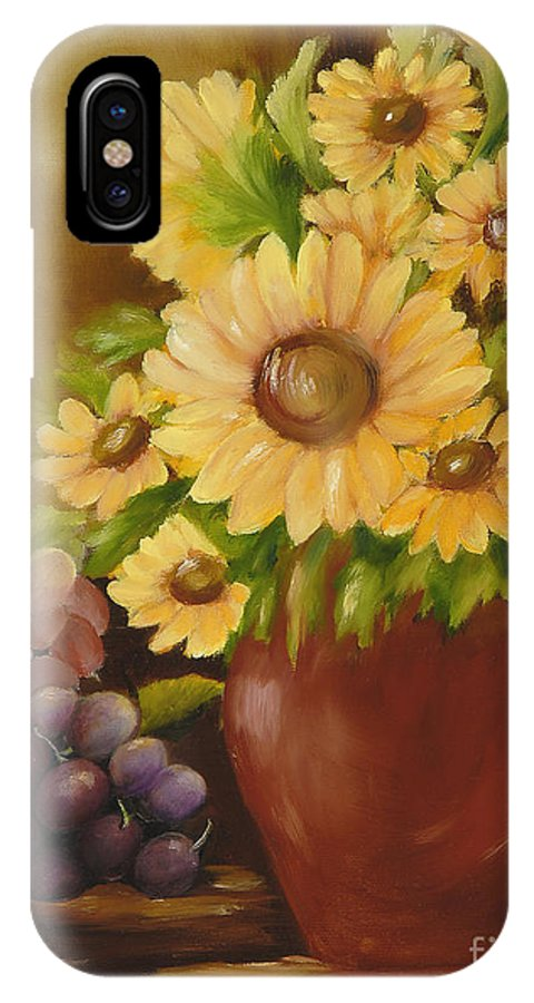 Sunflowers IPhone X Case featuring the painting Sunflowers And Grapes by Carol Sweetwood