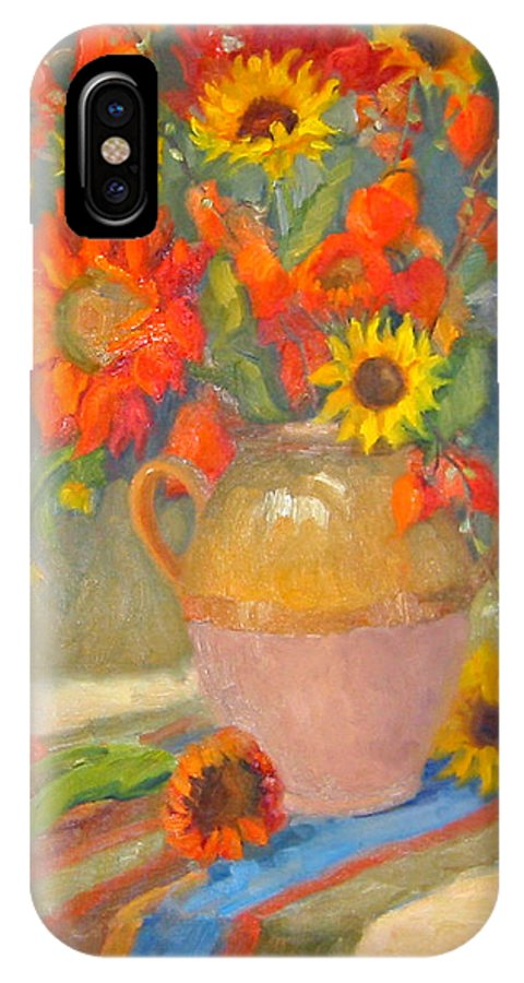 Sunflowers IPhone X Case featuring the painting Sunflowers And More by Bunny Oliver