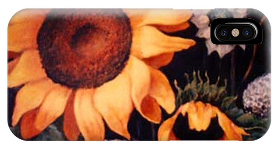 Sunflowers Paintings IPhone X Case featuring the painting Sunflowers And More Sunflowers by Jordana Sands