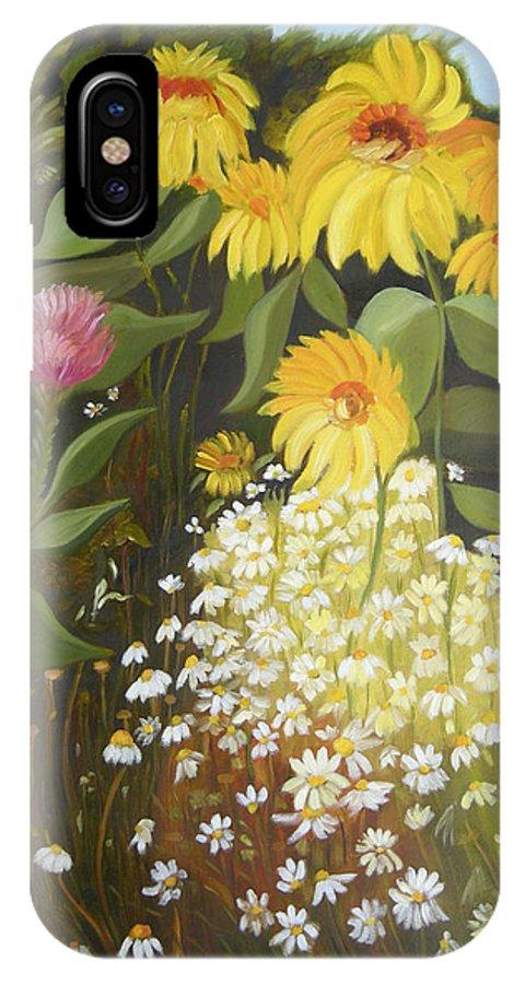 Landskape IPhone Case featuring the painting Sunflowers by Antoaneta Melnikova- Hillman