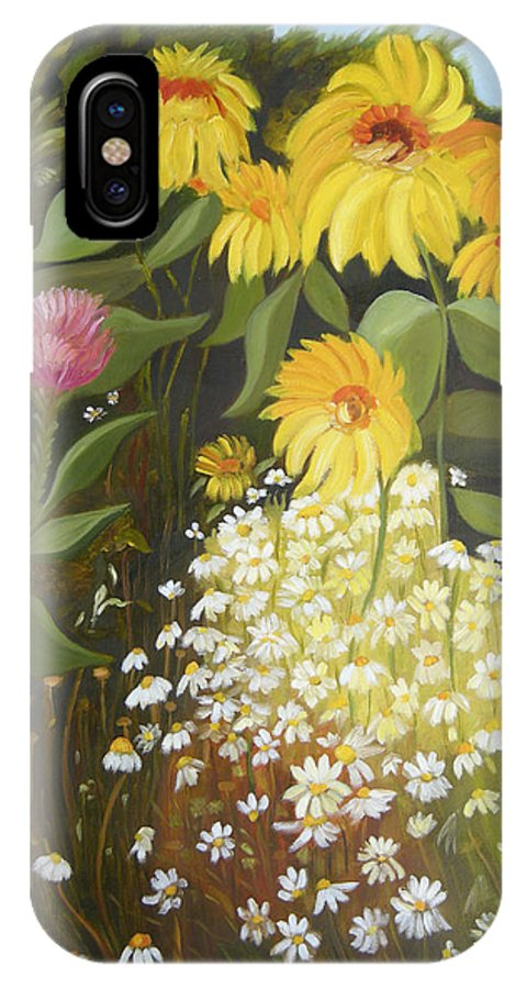 Landskape IPhone X Case featuring the painting Sunflowers by Antoaneta Melnikova- Hillman