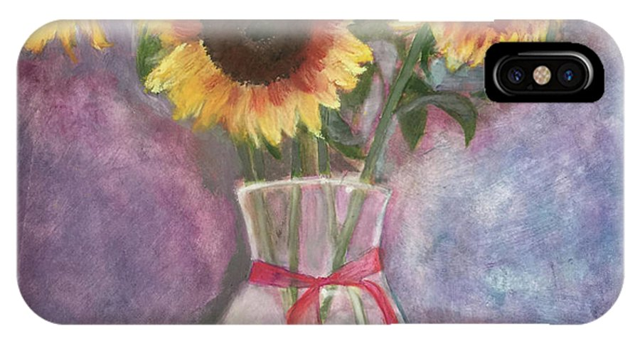 Sunflowers IPhone X / XS Case featuring the painting Sunflowers by Arna Vodenos