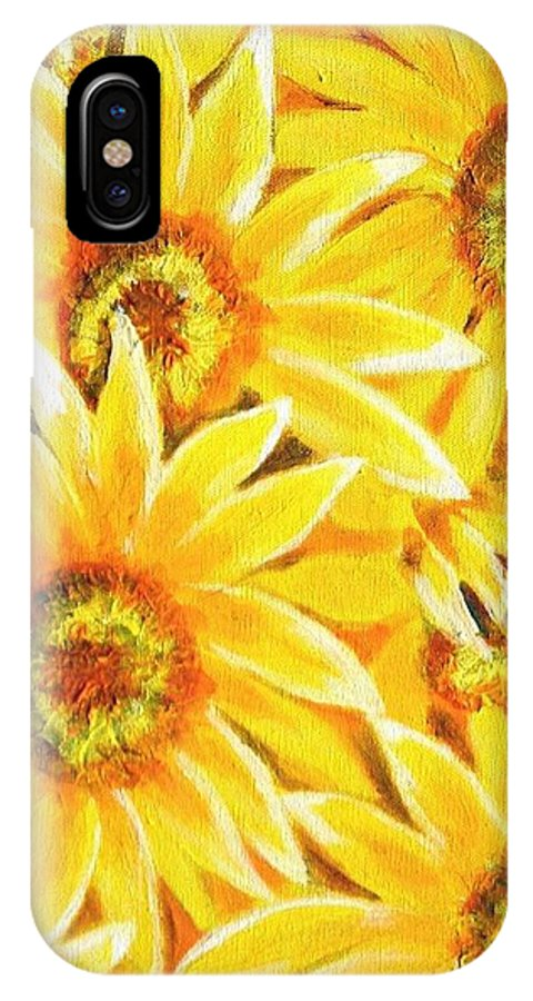 Flowers IPhone X Case featuring the painting Sunflowers by George I Perez