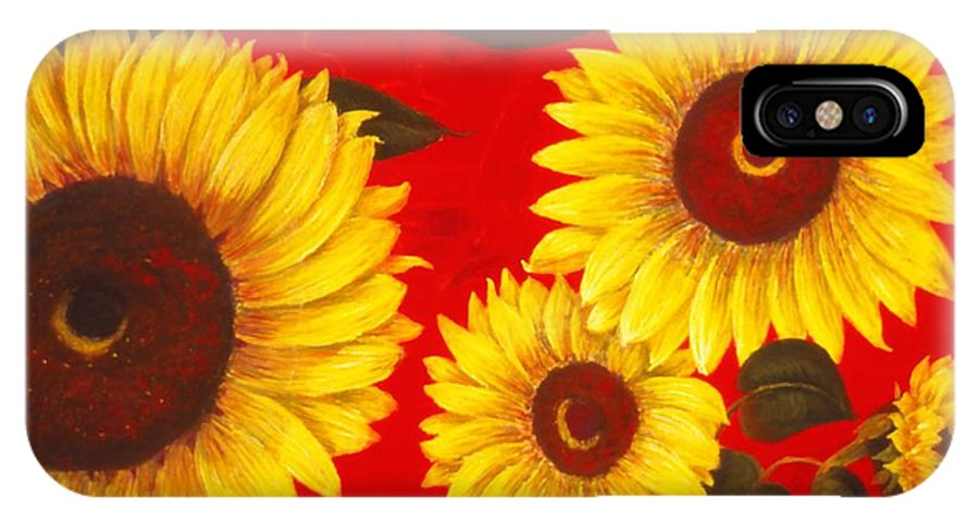 Flowers IPhone X Case featuring the painting Sunflowers IIi by Mary Erbert