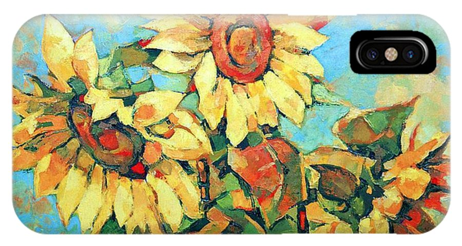 Sunflowers IPhone Case featuring the painting Sunflowers by Iliyan Bozhanov