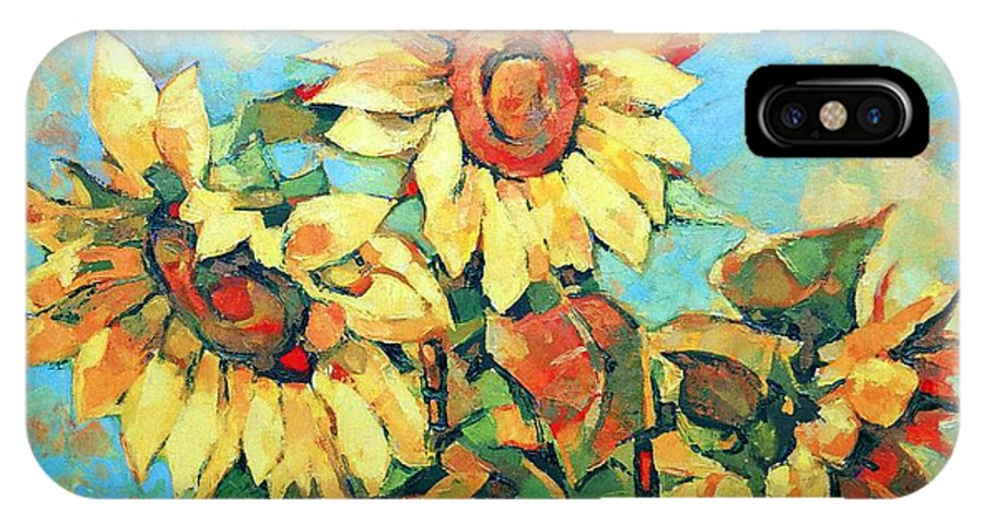 Sunflowers IPhone X Case featuring the painting Sunflowers by Iliyan Bozhanov