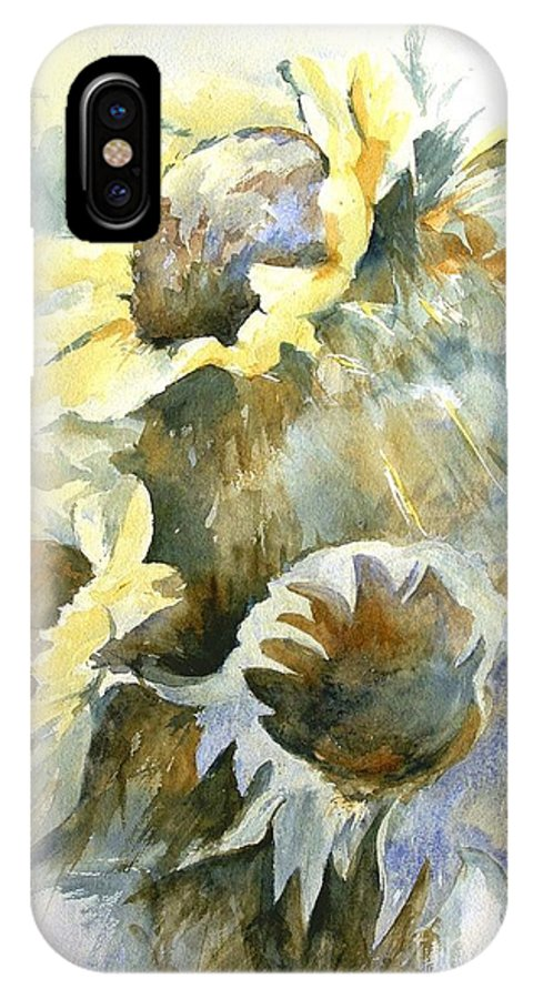Sunflower Painting IPhone X Case featuring the painting Sunflowers Ill by Madeleine Holzberg