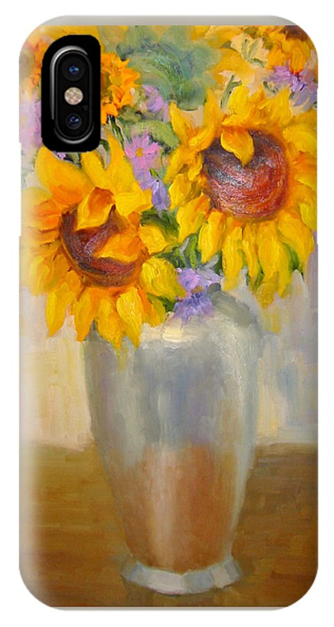 Sunflowers IPhone X Case featuring the painting Sunflowers In A Silver Vase by Bunny Oliver