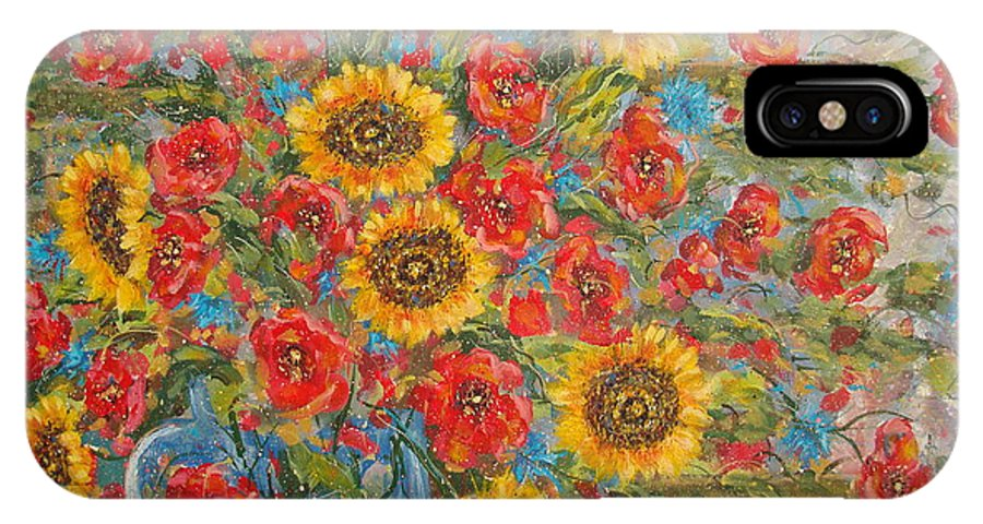 Flowers IPhone X Case featuring the painting Sunflowers In Blue Pitcher. by Leonard Holland