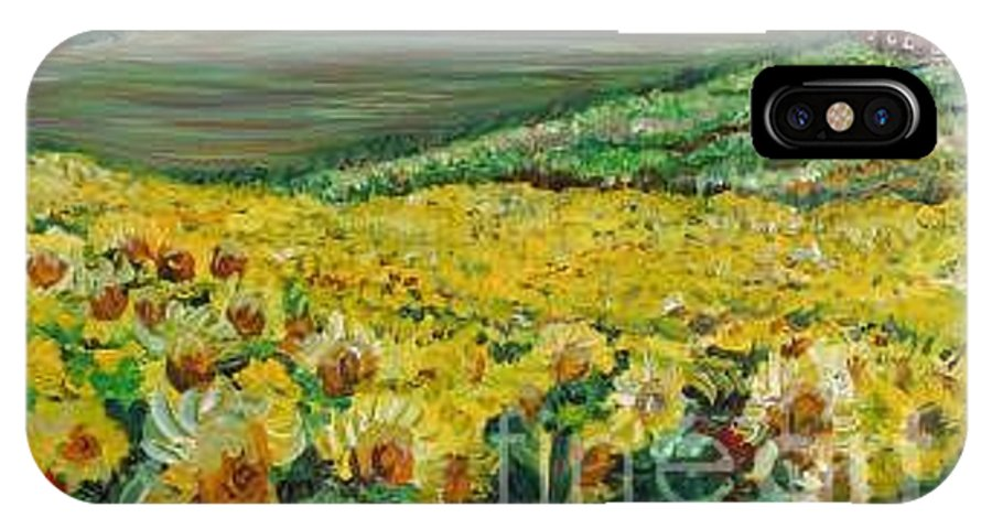 A Field Of Yellow Sunflowers IPhone X / XS Case featuring the painting Sunflowers In Provence by Nadine Rippelmeyer