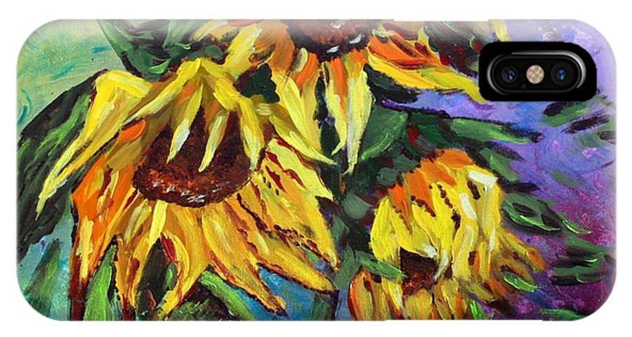 Art IPhone X Case featuring the painting Sunflowers In The Rain by Luiza Vizoli
