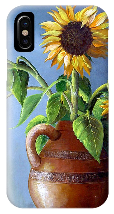 Sunflowers IPhone X Case featuring the painting Sunflowers In Vase by Dominica Alcantara