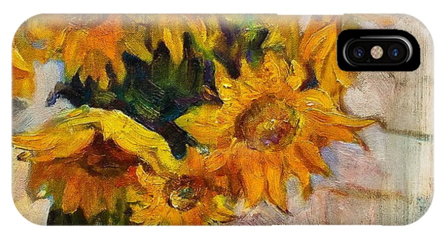 Still Life IPhone X / XS Case featuring the painting Sunflowers by Ishenko V'yacheslav