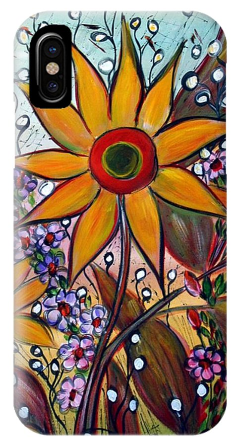 Flowers IPhone X Case featuring the painting Sunflowers by Luiza Vizoli