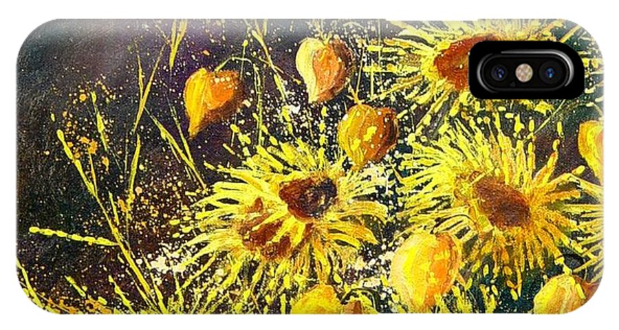 Flowers IPhone Case featuring the painting Sunflowers by Pol Ledent
