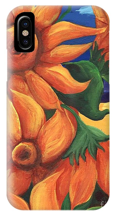 Sunflowers IPhone X Case featuring the painting Sunflowers by Sidra Myers
