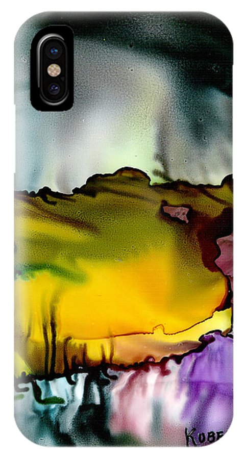 Abstract IPhone X Case featuring the mixed media Sunless Sea by Susan Kubes