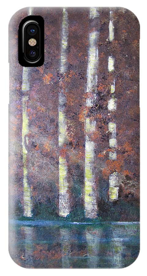 Trees IPhone X Case featuring the painting Sunlight And Birch by Gary Smith