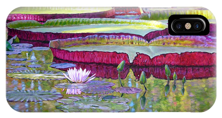 Lily Pond IPhone X Case featuring the painting Sunlight On Lily Pads by John Lautermilch