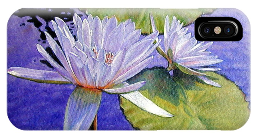 Water Lilies IPhone X Case featuring the painting Sunlit Petals by John Lautermilch