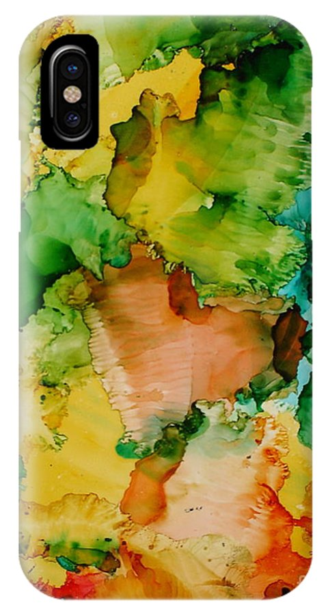 Abstract IPhone X Case featuring the painting Sunlit Reef by Susan Kubes