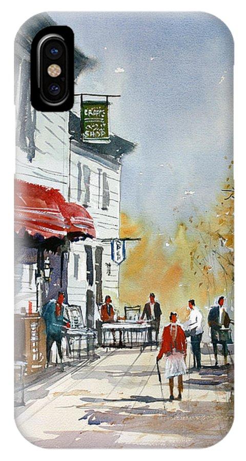 Ryan Radke IPhone X / XS Case featuring the painting Sunlit Sidewalk - Neshkoro by Ryan Radke